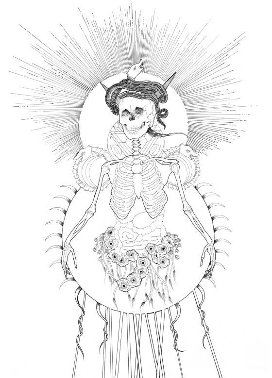 """Ad Pondus Omnium""  Ink on Watercolor paper 18 x 24"" 2013"