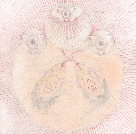 """Chamber III"" oil paint, color pencil, graphite on wood panel 5 x 5"" 2013"