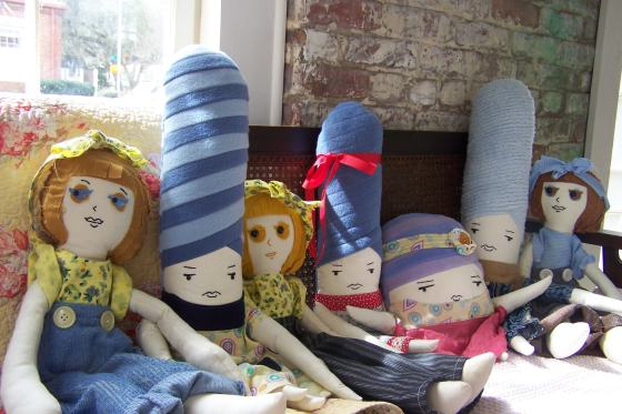 These amazing, locally made heirloom dolls by Little Lady Belles at Stitch and Ollie Otsun