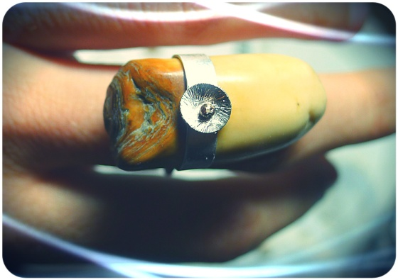 Petrified walrus tooth ring