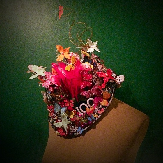 I made this psychotic hat for one of my children, as they need a hat with one hundred things on it for their 100th day of school.